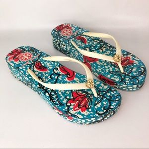 Tory Burch Turquoise Red Floral Print Thong Sandal